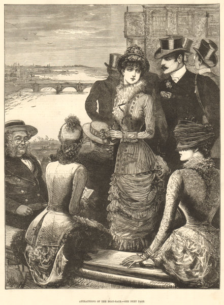 Associate Product Attractions of the boat-race. London. Society 1882 antique ILN full page print