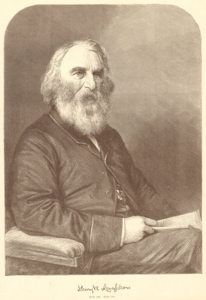 Associate Product Henry W. Longfellow. Born 1807. Died 1882. Poets. USA 1882 ILN full page print
