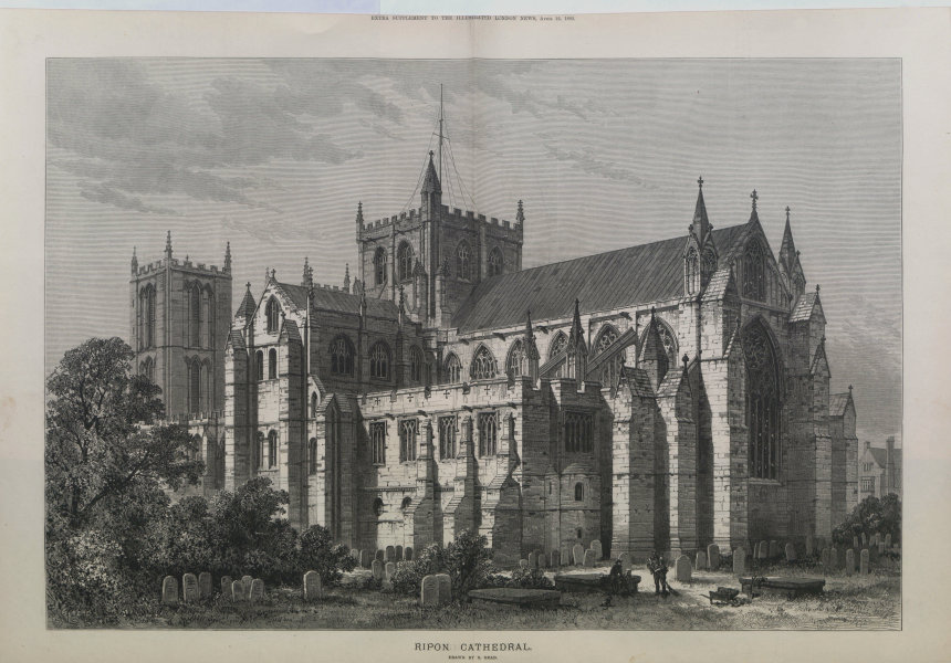 Associate Product Ripon Cathedral. Yorkshire. Churches 1882 antique ILN full page print
