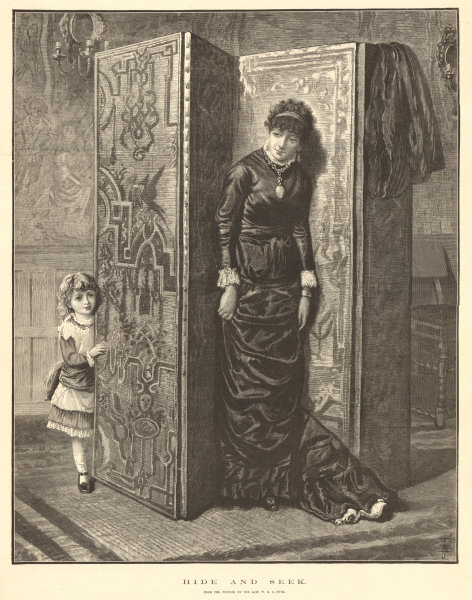 Associate Product Hide & seek. From the picture by W. B. C. Fyfe. Family 1882 antique ILN page