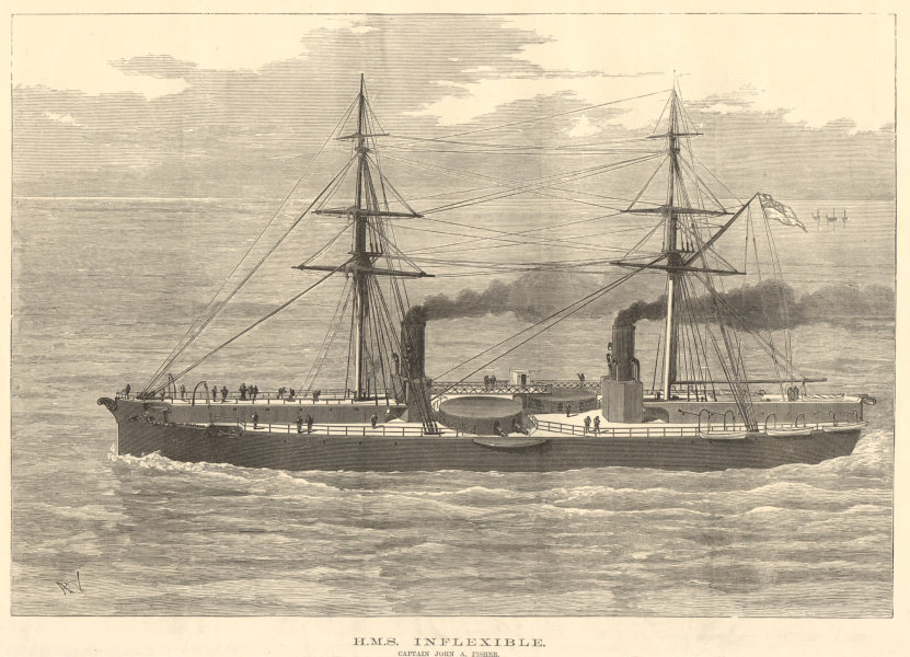 Associate Product HMS Inflexible. Captain John A. Fisher. Royal Navy. Ships 1882 ILN full page