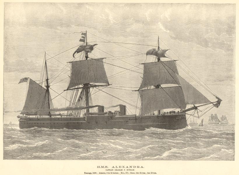Associate Product HMS Alexandra. Captain Charles F. Hotham. Royal Navy. Ships 1882 ILN full page