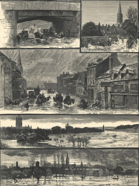 Associate Product The floods at Salisbury. Wiltshire 1883 antique ILN full page print