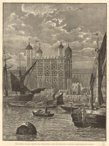 Associate Product The Tower of London, showing the White Tower 1883 antique ILN full page print