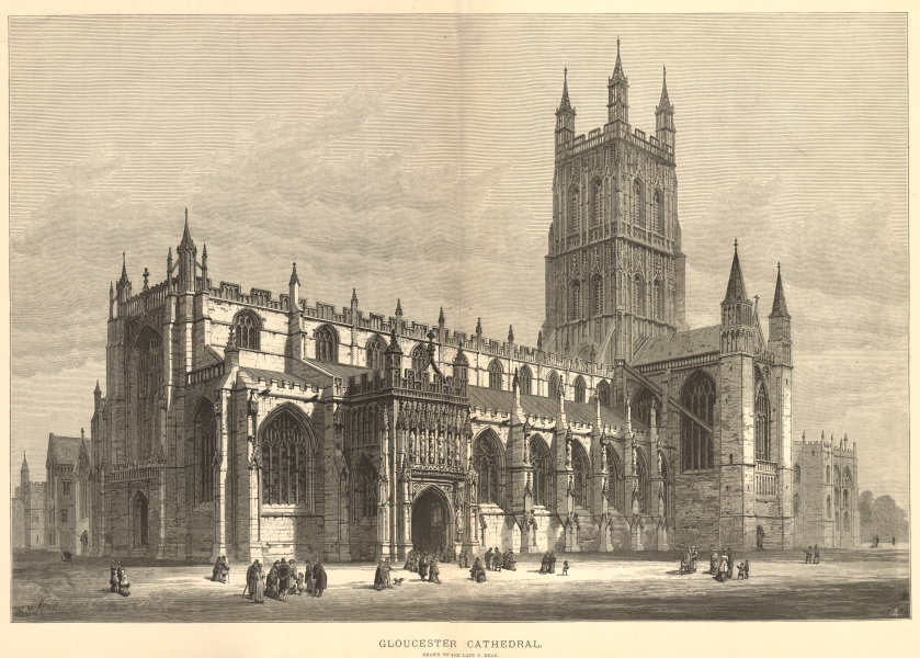 Associate Product Gloucester Cathedral. Drawn by the late S. Read. Gloucestershire. Churches 1883