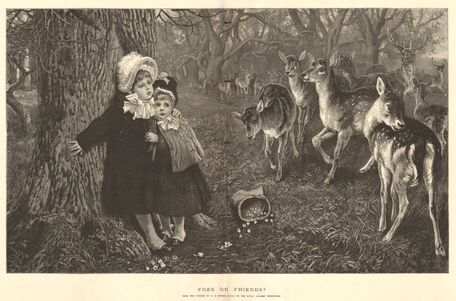 Associate Product Foes or friends? by P. R. Morris, A. R. A. Children. Deer 1883 ILN full page
