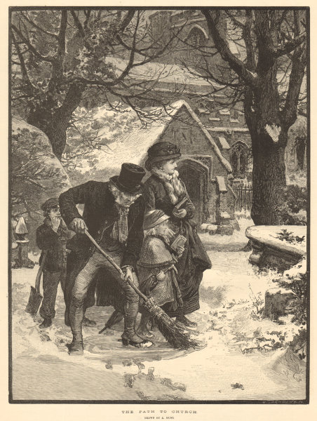 Associate Product Clearing snow from the path to church, by A. Hunt. Family. 1883 ILN full page
