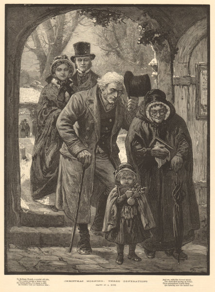 Associate Product Christmas morning: three generations going to church, by A. Hunt. Family 1883