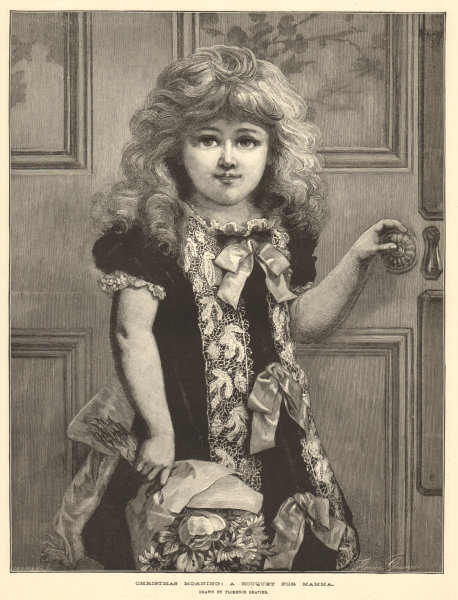 Associate Product Christmas morning: a bouquet for mama. Drawn by Florence Gravier. Children 1883