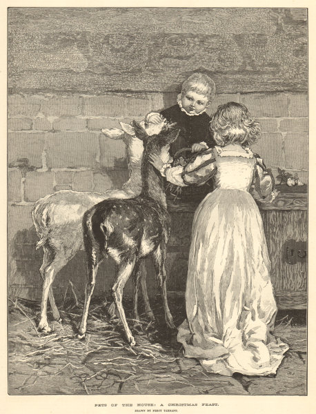 Associate Product Pets of the house: a Christmas feast, by Percy Tarrant. Deer Children 1883