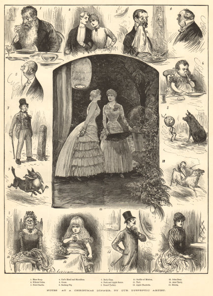 """Associate Product """"Notes at a Christmas dinner"""", by our dyspeptic artist. Family 1883 ILN print"""