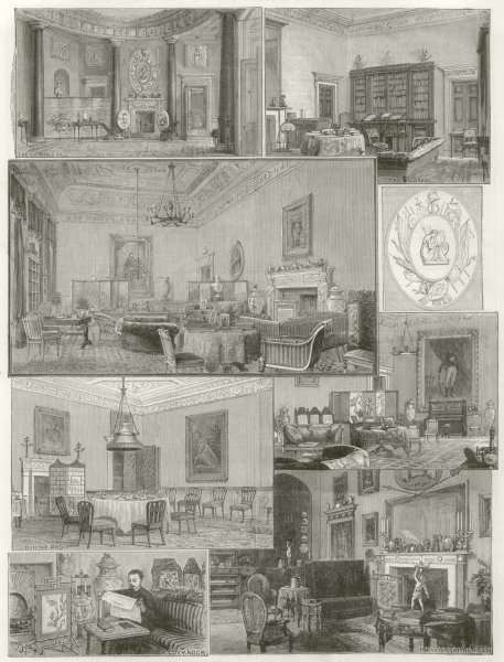 Associate Product Claremont House Duke of Albany. entrance hall library drawing room. Surrey 1884