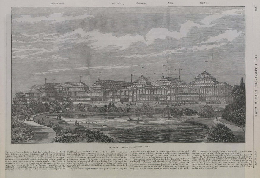 Associate Product The Albert Palace, at Battersea Park. London 1884 antique ILN full page print