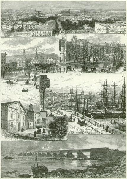 Associate Product Montreal: Victoria Square/bridge. Place d'Armes. Harbour. Mcgill University 1884