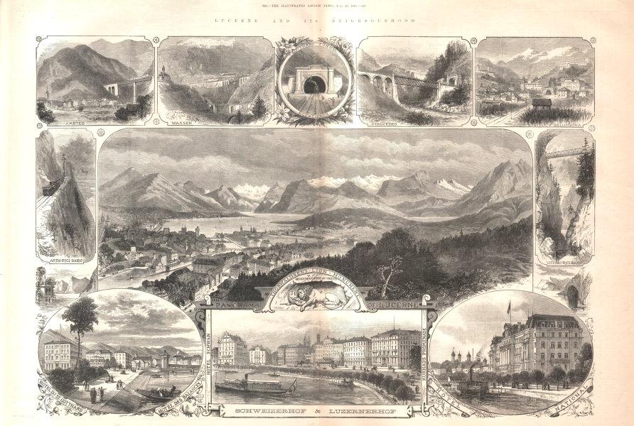 Associate Product Lucerne & its neighbourhood: Gotthard Tunnel. Switzerland 1885 ILN full page