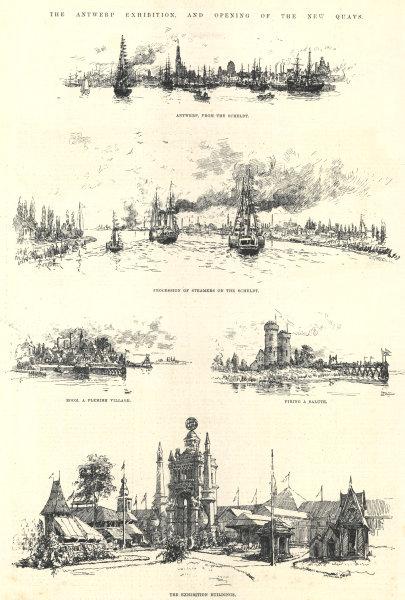 Associate Product The Antwerp Exhibition. From the Scheldt. Steamers. Boom. Belgium 1885