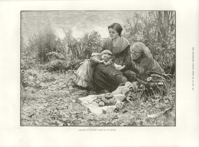 Associate Product Dropping in to lunch. Family picnic. Fine arts 1885 antique ILN full page print