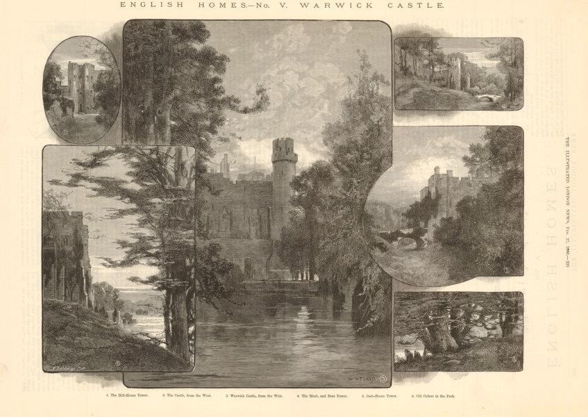 Associate Product Warwick Castle. Hill House Moat Bear Tower Gate house. Warwickshire 1886