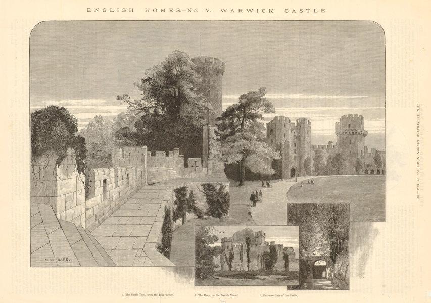 Associate Product Warwick Castle. Castle Yard Keep Danish Mount. Warwickshire 1886 ILN full page