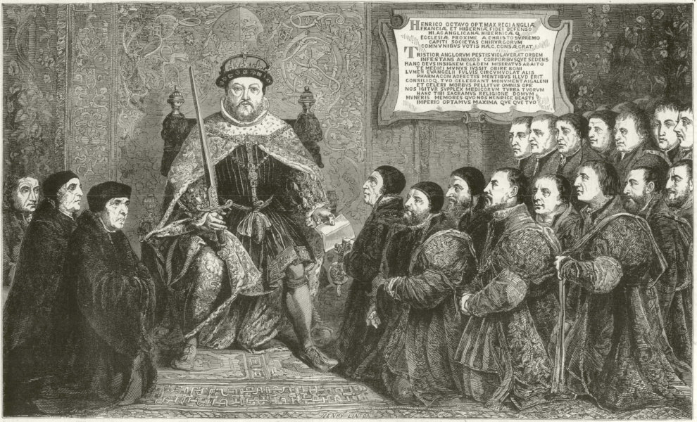 Associate Product Henry VIII presenting a charter to the College of Surgeons. London. Medical 1886