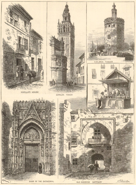 Associate Product Seville. Murillo Giralda Golden Tower cathedral Moorish Gateway 1886 ILN print