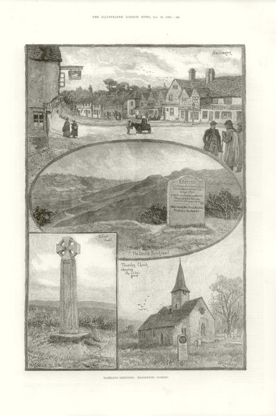 Associate Product Haslemere, Surrey. The Devil's Punchbowl/Gibbet Knoll/Thursley Church 1886