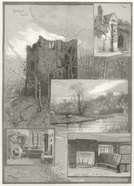 Associate Product Guildford, Surrey. Castle. From the river Wey, Abbots Hospital 1886 ILN print