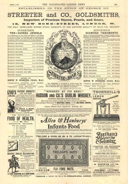 Associate Product Streeter & Co. Goldsmiths. 18 Bond Street, London W. ADVERT 1887 ILN full page