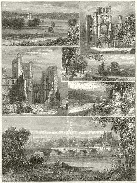 Associate Product Scottish Borders. Kelso Abbey Fleurs Castle Teviot Bridge Roxburgh Castle 1887