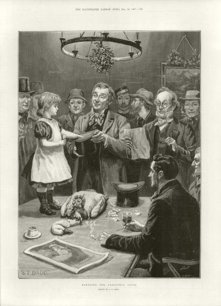 Associate Product Raffling the Christmas goose. Children 1887 antique ILN full page print