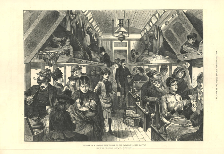 Associate Product Interior of a colonial sleeping-car on the Canadian Pacific railway 1888