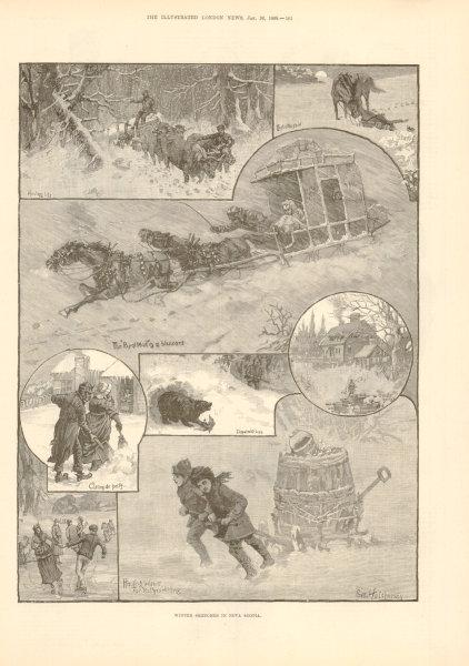 Associate Product Winter Sketches in Nova Scotia. Canada 1889 antique ILN full page print