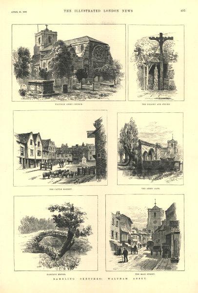 Associate Product Waltham Abbey: Church cattle market Harold's Bridge High Street. Essex 1889