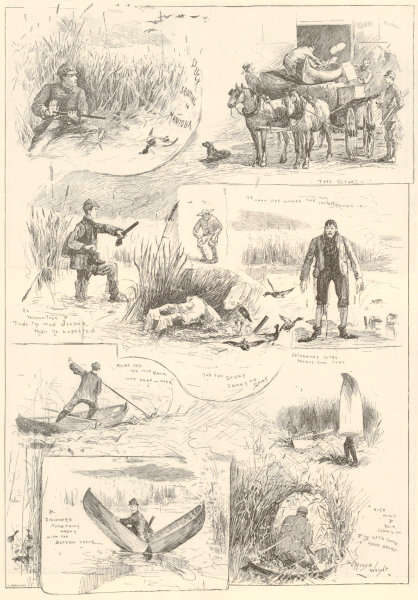 Associate Product Duck shooting in Manitoba. Canada 1889 antique ILN full page print