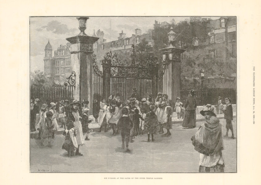 Associate Product The gate of the Inner Temple. London 1889 antique ILN full page print