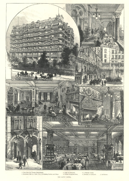 Associate Product The Savoy Hotel. London 1889 antique ILN full page print