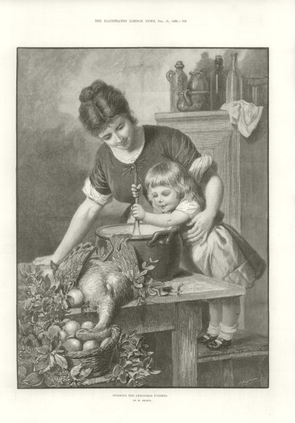 Associate Product Stirring the Christmas pudding. Family 1889 antique ILN full page print