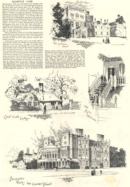 Associate Product Brampton Park. East Gate Lodge. Entrance & Garden fronts. Huntingdon, Cambs 1889