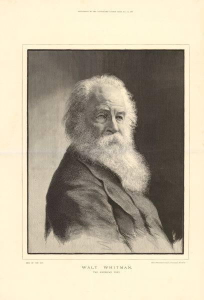 Associate Product Walt Whitman, the American poet. USA 1889 antique ILN full page print