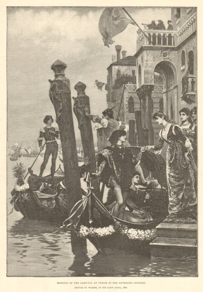 Associate Product Morning of the carnival at Venice in the 15th century, by Wgrez. Boats 1890