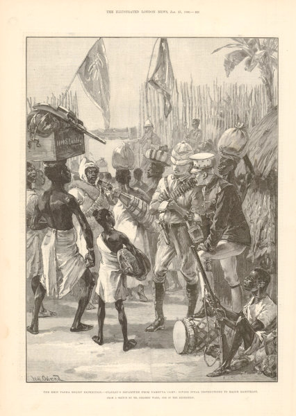 Associate Product Emin Pasha Relief Expedition. Stanley leaving Yambuya camp Barttelot. Congo 1890
