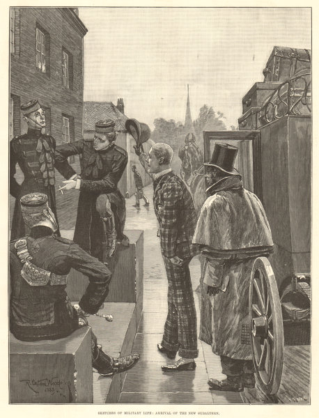 Associate Product Military life: arrival of the new subaltern. British Army. Militaria 1890