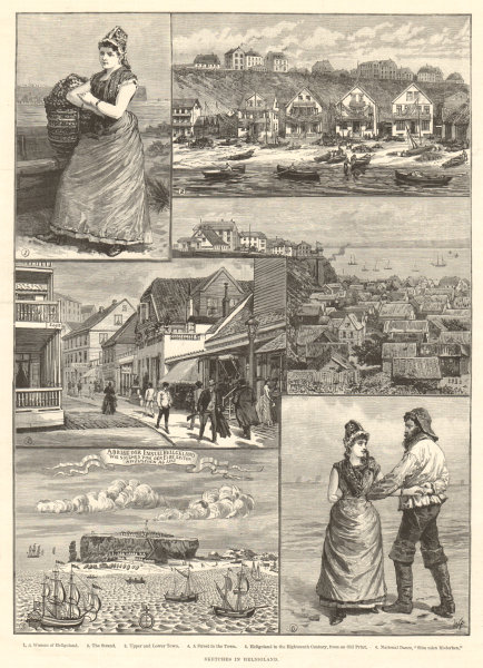 Associate Product Sketches in Heligoland. Germany 1890 antique ILN full page print