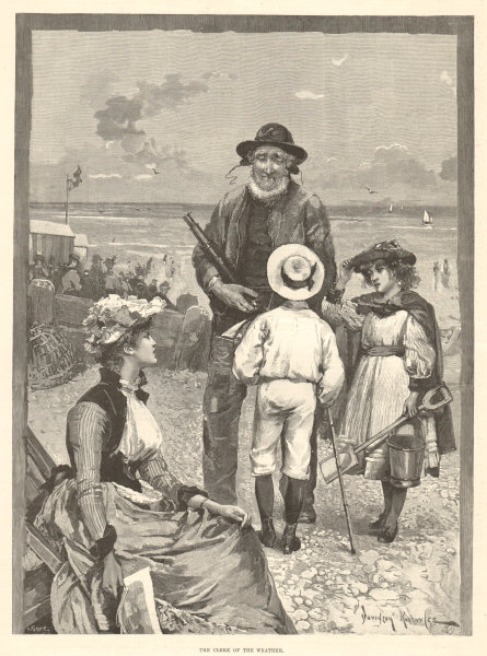 Associate Product The clerk of the weather. Family beach. 1890 antique ILN full page print
