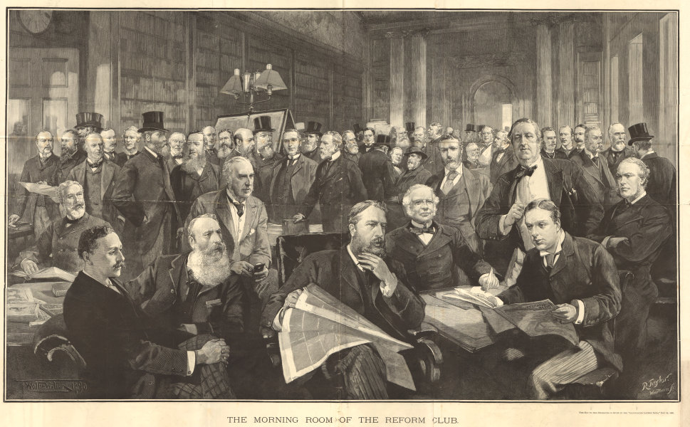 The morning room of the Reform Club. London. Society 1890 ILN full page print