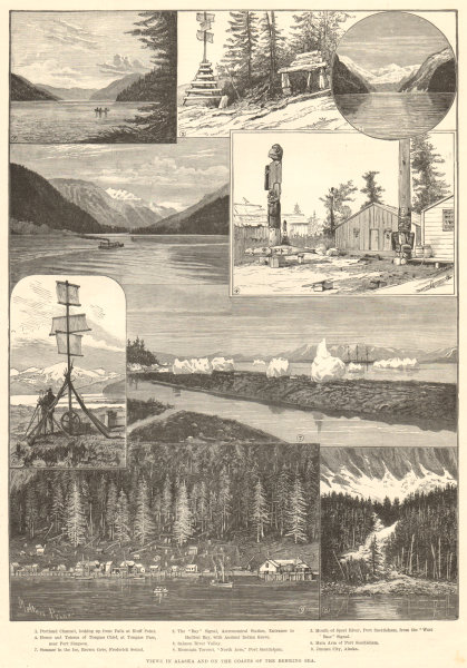Associate Product Views in Alaska & on the coast of the Behring Sea 1891 antique ILN full page