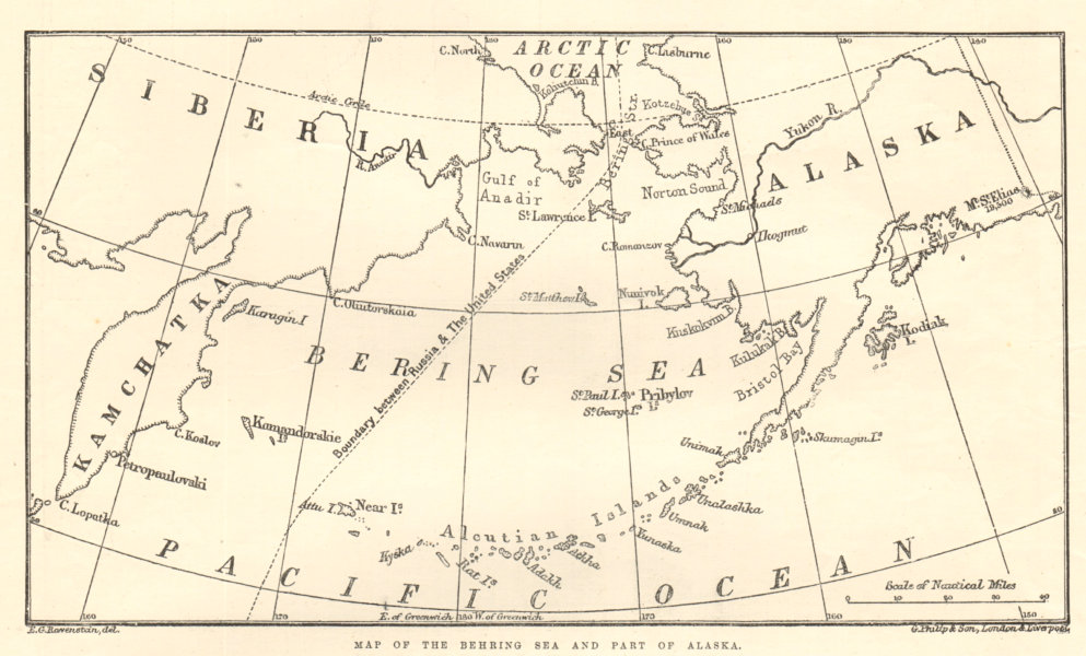 Associate Product Map of the Behring Sea & part of Alaska 1891 map antique ILN full page print