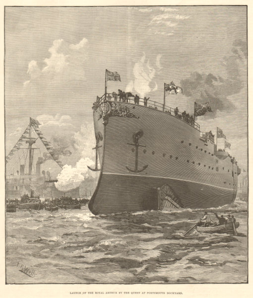 Associate Product HMS Royal Arthur launched by Queen Victoria, Portsmouth dockyard. Hampshire 1891