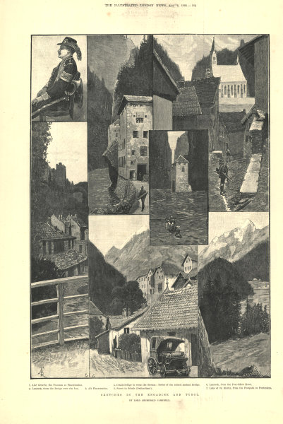 Associate Product Engadin & Tyrol. Finstermünz Landeck Scuol (Schuls) St. Moritz Pontresina 1891