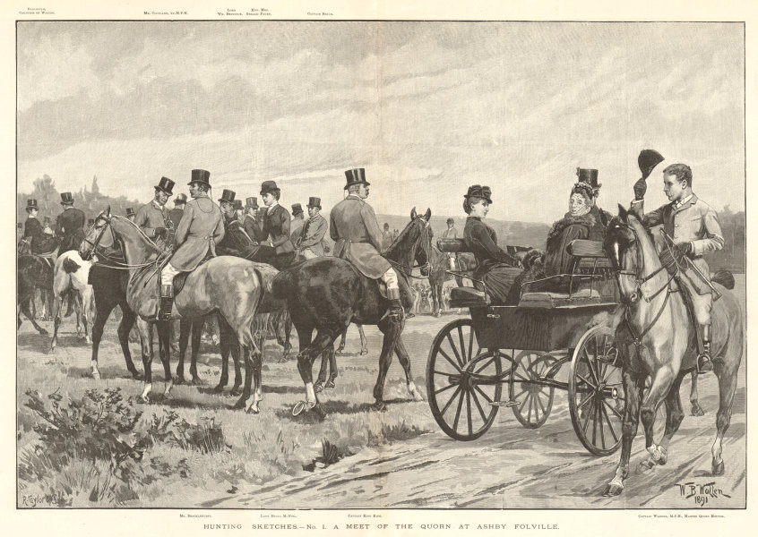 Associate Product Hunting sketches - a meet of the Quorn at Ashby Folville. Leicestershire 1891